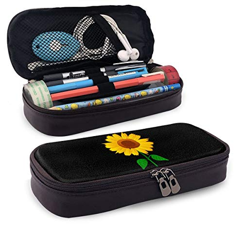 Sunflower Clipart Leather Big Capacity Pencil Stationary Case Compartment Box School Office Supplies Students