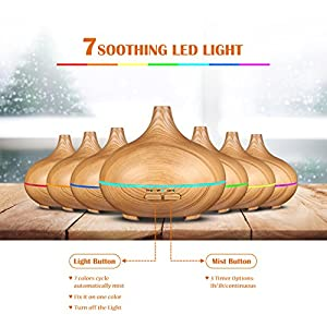 Victsing 150ml Mini Ultrasonic Aroma Essential Oil Diffuser, Wood Grain Cool Mist Humidifier for Office Home Room Study Yoga Spa, 14 Color Lights