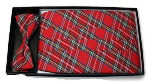 Christmas Red Plaid Tuxedo Cummerbund and Bow (Christmas Plaid Bow Tie)