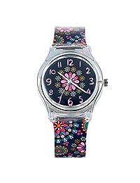 Lancardo Reloj Analógico de Citizen Cuarzo Correa Multicolor de Silicona  con Dibujo de Flores Pulsera Electrónica 0c221075b262