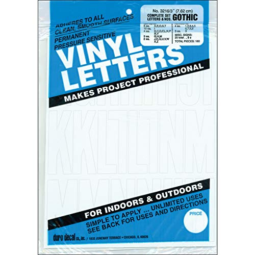 Permanent Adhesive Vinyl Letters & Numbers 3in 160/PkgWhite