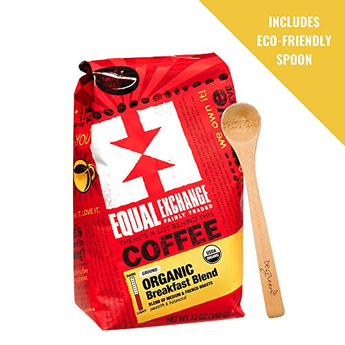 Equal Exchange Organic Breakfast Blend Coffee - 12 Ounces - Fairly Traded Ingredients, Sustainably Grown Arabica Grounds - Includes Bonus Add On beGreen Eco Friendly Spoon