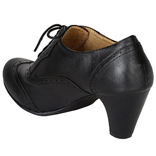 8bb2c2906bd8 Refresh Women Leatherette Lace Up Oxford Chunky Heel Bootie Black 5.5 B(M)  US - Buy Online in UAE.