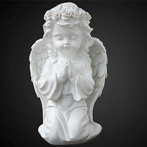 LIUSHI Home Garden Decoration,Memorial Statue,Baby Angel Statue,Kneeling Praying Cherub Statue,Wings Angel Figure Girl 13x11x22cm(5x4x9inch)