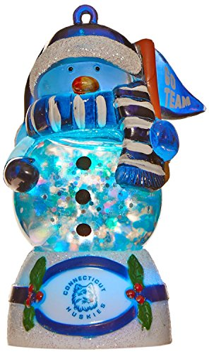 Connecticut Huskies NCAA Changing Colors Water Globe Snowman Ornament - Huskies Ncaa Snowman