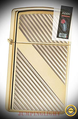 29724 Lines Design High Polish Brass Slim Size Lighter with Flint Pack - Premium Lighter Fluid (Comes Unfilled) - Made in USA! ()