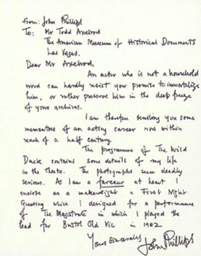 John Phillips – Autograph Letter Signed