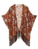 Women's Floral Kimono Cover Up - Lightweight Jacquard Chiffon Beachwear for Bikini,Cardigan and Swimwear (one size,Coffee)