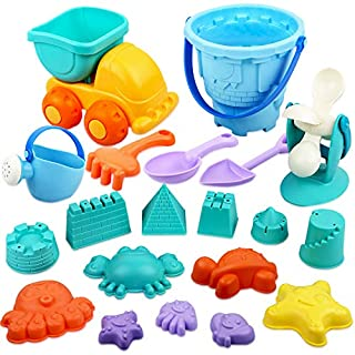 Kids Beach Sand Toys Set 20pcs Castle Animals Sand Molds Water Wheel and Bucket Sandbox Toys with Mesh Bag