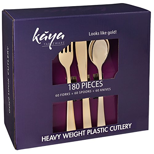 Plastic Silverware Set - 180 Pcs Disposable Gold Cutlery Set - 60 Plastic Forks, 60 Plastic Spoons, 60 Plastic Knives - Heavy Duty Bulk Flatware Party Utensils for Wedding, Birthdays & Other Occasions from Kaya Collection