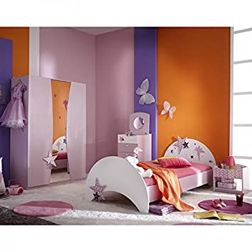 Kinderzimmer Sternchen 4 Teilig Lila Weiß Mädchen Bett Nachtkommode  Kleiderschrank Kinderbett Nako Nachtschrank Schrank Jugendzimmer