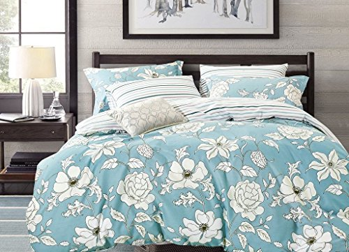 Cheap  Swanson Beddings Blue Floral 3-Piece 100% Cotton Bedding Set: Duvet Cover and..