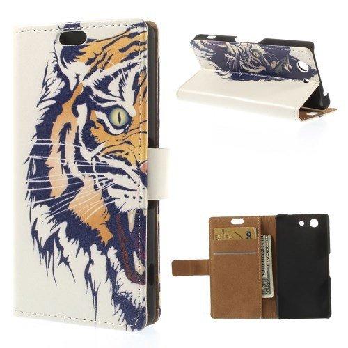 caja del teléfono celular del caso del tirón de Sony Xperia Z3 Compact dueño de soporte SOPORTE Tiger LIBRO, cabeza del tigre
