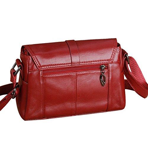 Genda 2Archer Bolso de Cuero Clásico del Mensajero del Bolso de Hombro Para las Mujeres (23cm * 9cm * 15cm) (Café) Rojo