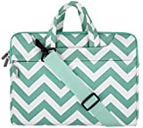 MOSISO Laptop Shoulder Bag Compatible with 15-15.6 Dell HP Acer Lenovo Chromebook Notebook, MacBook Pro Touch Bar A1990 A1707, Chevron Style Carrying Briefcase Handbag Sleeve Case Cover, Hot Blue