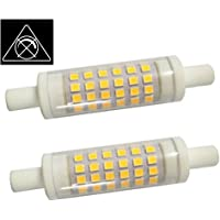 AscenLite 5W R7S Non-Dimmable, Pack of 2, J78 Ampoule LED 220-240V 78mm Blanc chaud 50W Ampoule halogène Double Ended J type Replacement