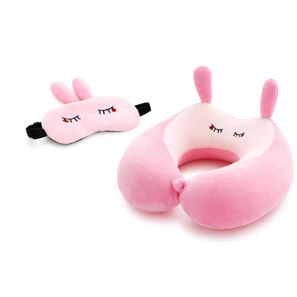 ZOUQILAI U-Shaped Travel Neck Pillow Memory Cotton Cute Cartoon Pillow Neck Pillow Aircraft Head Pillow with Nap Eye Mask Variety (Color : Shameful Rabbit)