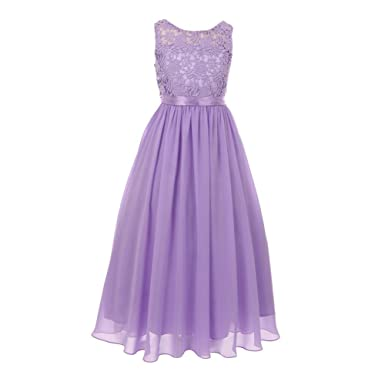 4a87e7e3916 Cinderella Couture Big Girls Lilac Satin Sash 3D Lace Chiffon Stylish Junior  Bridesmaid Dress 8