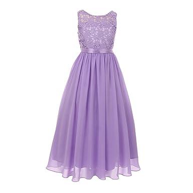 46dc0c833cd Cinderella Couture Big Girls Lilac Satin Sash 3D Lace Chiffon Stylish  Junior Bridesmaid Dress 8