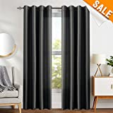 Cheap Black Faux Silk Dupioni Window Curtains for Living Room 95 inches Long Satin Grommet Black Curtain Panels for Bedroom Light Filtering Privacy Window Treatments, 2 Panels