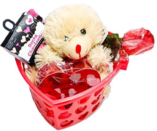 Treat-Filled-Heart-Shaped-Basket-Includes-Chocolate-Scented-Bear-Russell-Stover-Chocolates-Chocolate-Rose-and-Valentines-Day-Themed-Socks