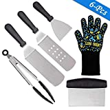 Conthfut BBQ Grill Tool Set, With Premium BBQ Heat Resistant Glove, Heavy Duty Stainless Steel Griddle Tool Set for Men Women - Great for Grill Griddle Flat Top Cooking Camping Tailgating