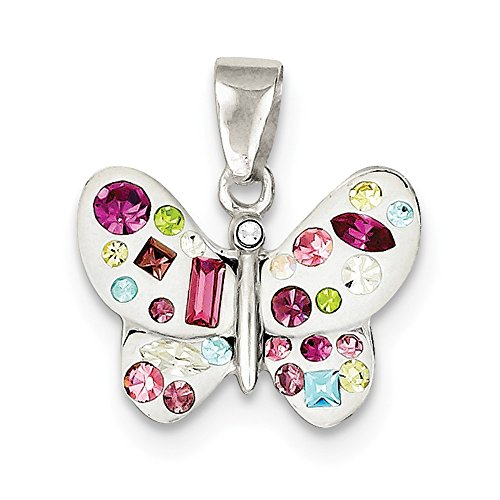 - 925 Sterling Silver Multi Stellux Crystal White Butterfly Pendant Charm Necklace Animal Fine Jewelry Gifts For Women For Her