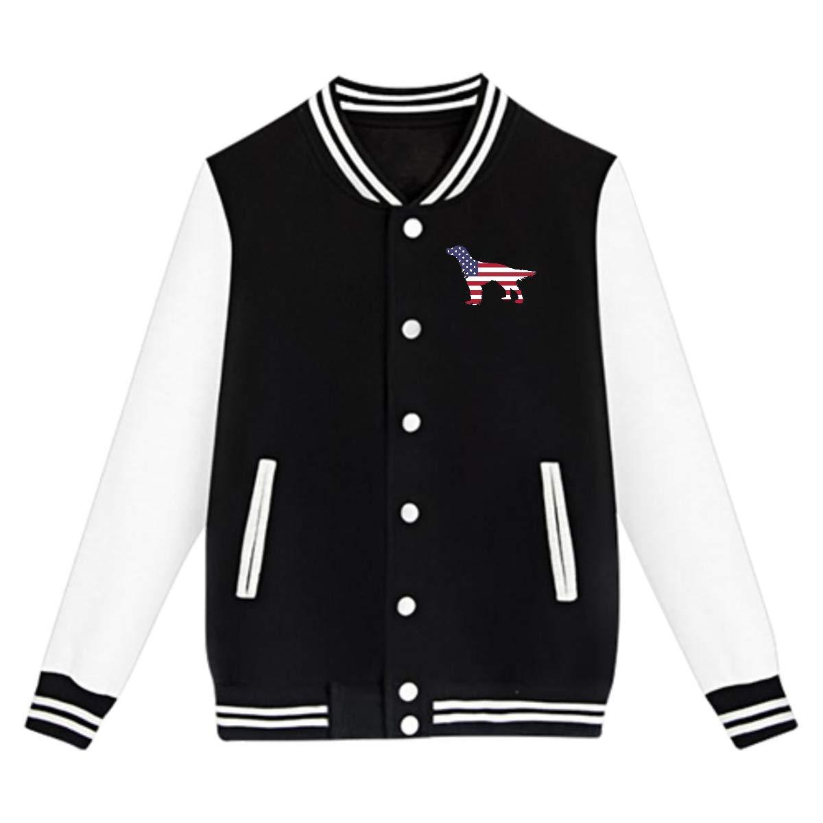 NJKM5MJ Unisex Teen Baseball Uniform Jacket American Flag Dog Sweater Sport Coat