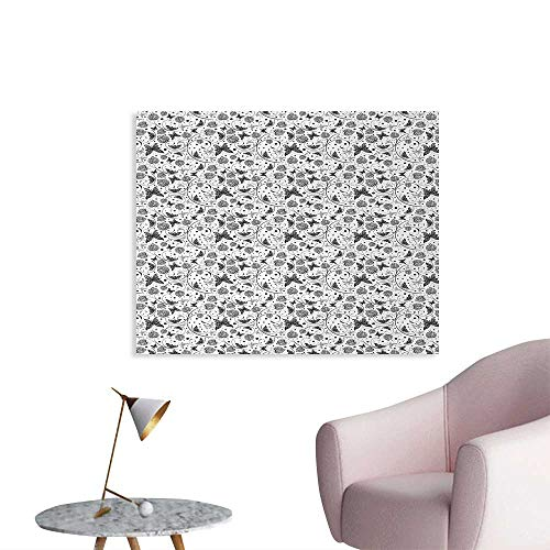 Tudouhoho Black and White Space Poster Monochrome Butterflies and Petals of Spring on Dotted Swirled Background Wall Paper Black White W28 xL20 (League Of Legends Wallpaper Black And White)