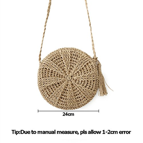 SS3114 Weave Handmade Straw Women Brown Crossbody n Female Lady Circle Beach Messenger MANFDGABNGS Handbag Bag Round Bags Rattan vawqnxpO