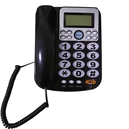 Corded Speakerphone Caller Id (LeeKerTel Big Button Corded Phone for Elderly with Caller ID Speed Dial Alarm Function Landline Telephone for Seniors(P034Black))