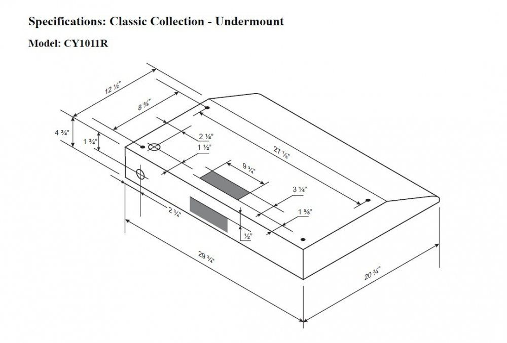 Cyclone CY1011R-SS 680CFM High-Powered Under-Mount Range Hood, Classic Collection, Stainless Steel, 30''
