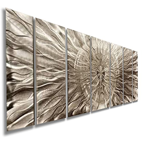 Contemporary Abstract All Natural Silver Metallic 3d Wall Painting - Modern Home Office Decor Metal Wall Sculpture - Eye of the Storm By Jon Allen - 68