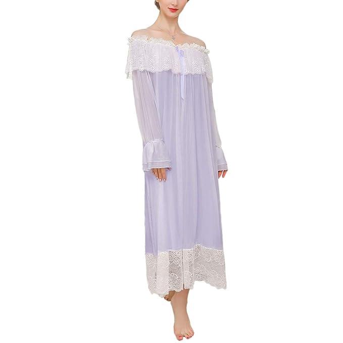 Señoras De Las Mujeres Bata De Casa Princesa Corte De Encaje Camisón Falda Larga Ropa De Dormir Dulce Elegante Pijamas: Amazon.es: Ropa y accesorios