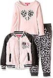Betsey Johnson Little Girls' 3 Piece Varsity Jacket Set Peace, Rose Shadow, 6
