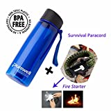 Personal Water Filter Bottle with 2-Stage Integrated Filter Straw for Hiking- Include Paracord Bracelet with Fire Starter