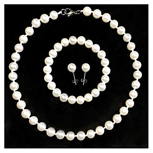 (Jiyui Round White Smooth Hand Knotted Seashell Pearl Necklace Bracelet Earrings 3 Set for Women Girls (8mm)