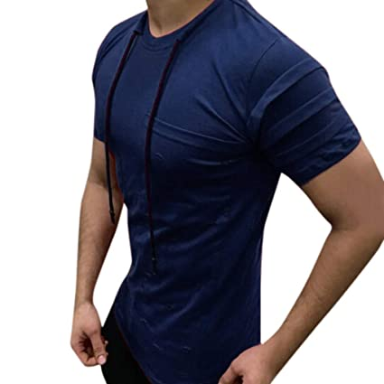 Amazon.com: YKARITIANNA Summer New Fashion Mens Drawstring Pleats Slim Fit Short Sleeve Pocket Solid Top Blouse