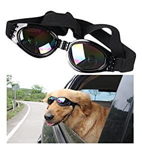 Dog Sunglasses Pet Glasses Dog Glasses Dog UV Protective Foldable Sunglasses Dog Goggles Eye Wear Protection Waterproof Pet Sunglasses for Dogs about over 15 lbs
