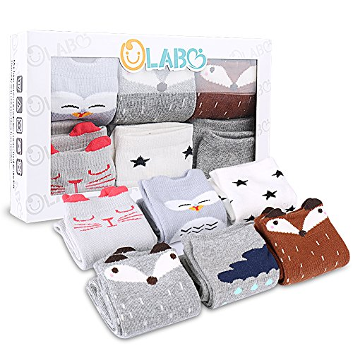 OLABB Unisex Baby Socks Knee High Stockings Animal Theme 6 Packs Gift Set, Animals B, M 1-3T
