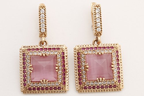 - Turkish Handmade Jewelry Square Shape Pink Cat's Eye and Round Cut Pink Ruby Topaz 925 Sterling Silver and Bronze Drop /Dangle Earrings