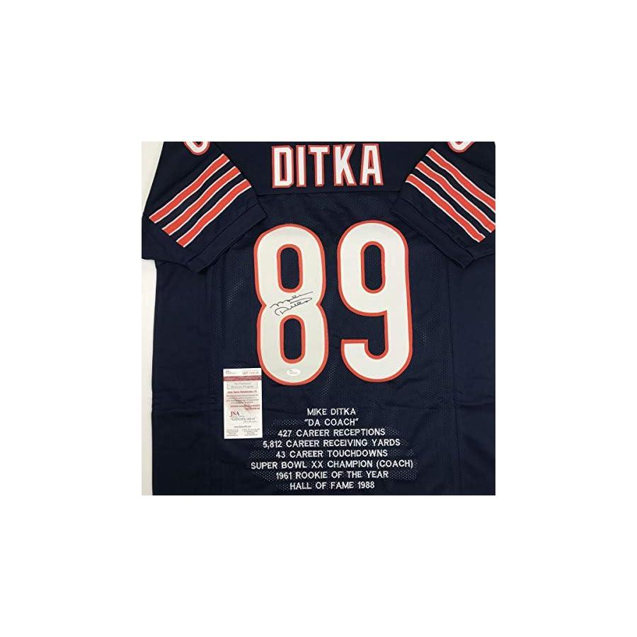 Autographed/Signed Mike Ditka Chicago Blue Stat Football Jersey JSA COA