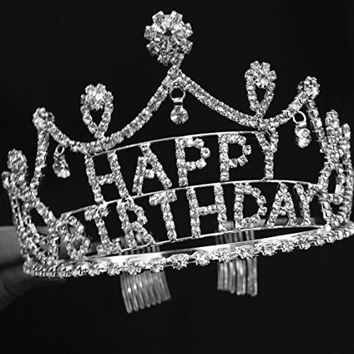 Silver Crystal Rhinestone Happy Birthday Tiara Crown Comb for Cake Topper / Perfect Birthday Crown for Everyone One / 2.5