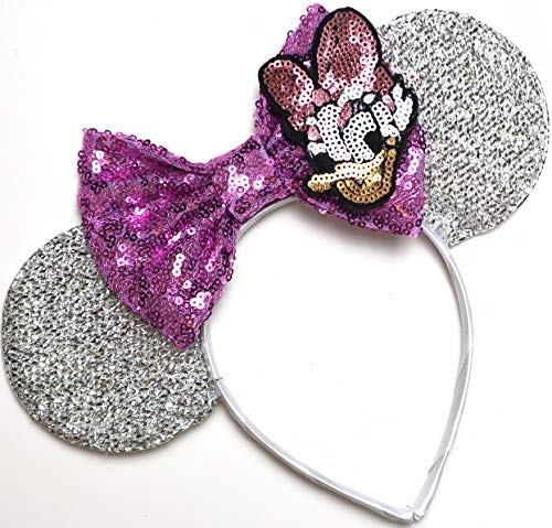 CLGIFT Daisy Minnie ears, Daisy Duck Minnie mouse ears, Silver Purple lavender minnie ears, Classic Red Sequin Minnie Ears (Daisy Duck)
