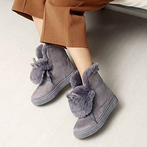 Mee Shoes Damen süß flach warm gefüttert Nubukleder Stiefel Grau