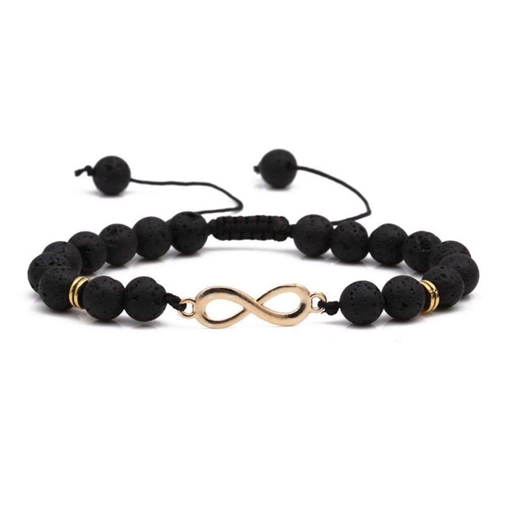 SIVITE Natural Lava Rock Beads Bracelet Infinity Charm Essential Oil Diffuser Bracelet Bangle Adjustable YML BBEAD-001
