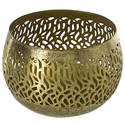 Accent Decor Gold Round Iron Candleholder - 6.5 X 6.5 X 4.75 Inches Lilah Antiqued Tea Light Holder - Bohemian Votive Decor for Home or Office.