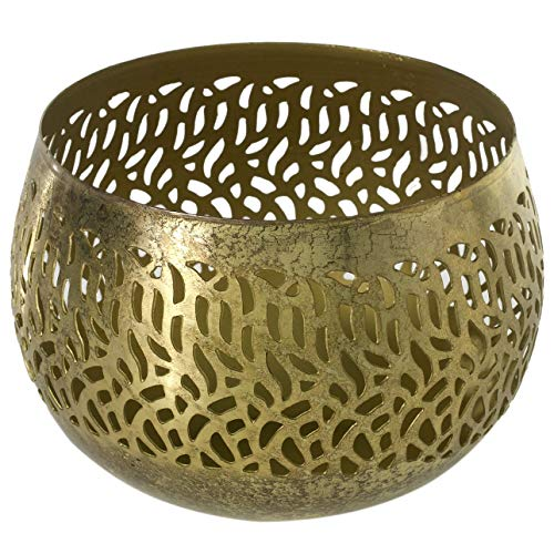 Accent Decor Gold Round Iron Candleholder - 6.5 X 6.5 X 4.75 Inches Lilah Antiqued Tea Light Holder - Bohemian Votive Decor for Home or Office. -