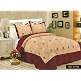 Rimi Hanger Luxury Quilted Embroidered Bedspread Set Bed Throw + 2 Shams, To Fit Double And King Size (Burgundy DH-8807)