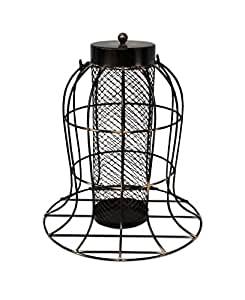 Redlighthouse Bird Feeder with Wire Cage Cylinder in Center